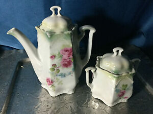 Antique Germany 2pcs Tea Set Teapot Sugar Roses Rs Prussia Style Hexagonal