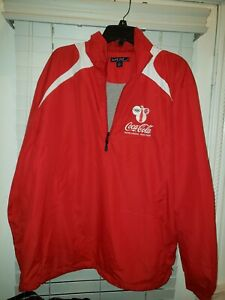 Coca-Cola Olympics Pull Over Top Size XL Red Zip