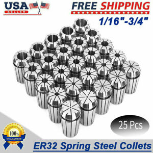 25pcs High Accurate Spring Steel Er32 Collets Set 12pcs By 16th 13pcs By 32nd