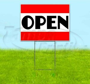 Open 18x24 Yard Sign With Stake Corrugated Bandit Usa Business Grand Opening