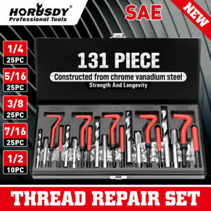 131pc Thread Repair Kit Hss Drill Helicoil Repair Kit Sae 1 4 5 16 Inch W Case