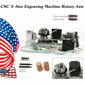 Cnc Engraving Machine Rotary Table 60mm 4jaw Chuck Rotational 5th Axis Two phase