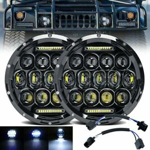 Pair 7inch For Hummer H1 H2 Round Led Headlight Offroad Headlamp Hi low Beam Drl
