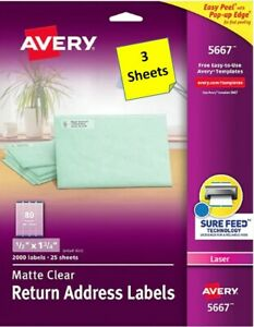 3 Sheets Avery 15667 Clear Return Address Labels 1 2 X 1 3 4 Laser