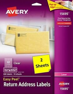 2 Sheets Avery 15695 Clear Return Address Labels 2 3 X 1 3 4 Laser