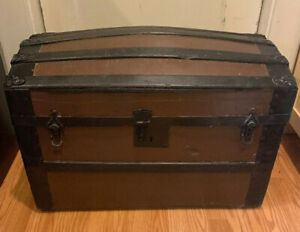 Antique Small Steamer Trunk Wood Metal Leather Geo Bains Sons Philadelphia