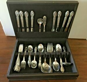 65 Piece Wm Rogers Victorian Rose Silverplate Flatware W Chest 1954 Vintage