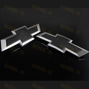 For 2015 2017 Gm Chevy Colorado Black Front Grille Tailgate Bowtie Emblem Set