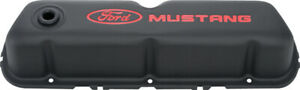 Proform 302 101 Black Steel Valve Covers Sbf Tall Red Mustang Lettering