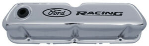 Proform 302 071 Chrome Steel Valve Covers Sbf Tall Black Ford Racing Logo