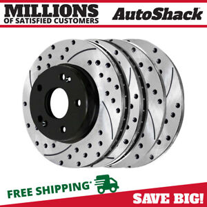 Front Rear Drilled Slotted Brake Rotors For 2013 Hyundai Veloster 2014 Kia Forte