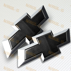 For 14 15 Chevy Silverado Real Carbon Fiber Front Grill Tailgate Bowtie Emblem