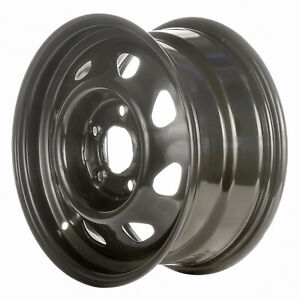 15 X 7 Refinished 8 Slot Chevrolet Steel Wheel Flat Black 560 5040