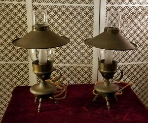 Vintage Set Of 2 Brass Lights Lamps W Glass Chimneys And Brass Shades