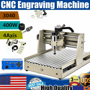 4 Axis 400w 3040 Engraver Cnc Router Engraving Machine Carving Milling Drilling