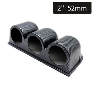 2 52mm Gauge Pod Triple Hole Carbon Fiber Abs Dashboard Mount Holder Universal