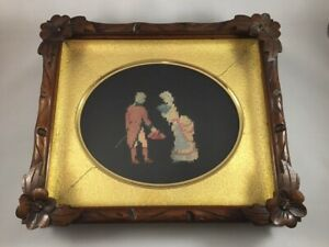 Antique Victorian Hand Carved Deep Wood Picture Frame Embroidered Couple 19th C