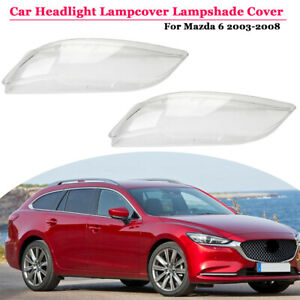 Right left 2pcs Replacement Headlight Lens Cover For Mazda 6 2003 2008