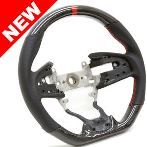 Handkraftd 2016 Honda Civic Real Carbon Steering Wheel W Red Centering Stripe