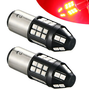 Pair 1157 Led Strobe Flashing Brake Stop Bulbs Tail Blinking Lights Warning Lamp
