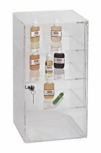 4 Shelf Clear Display Acrylic Case 9 X 9 X 18 Lock Tower Removable Shelves