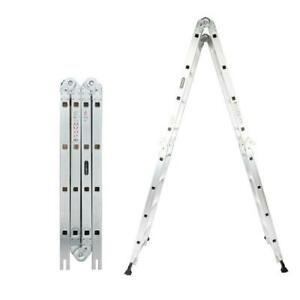 Aluminum Ladder Folding 15 5ft Multi Step Scaffold Extendable Heavy Duty Giant