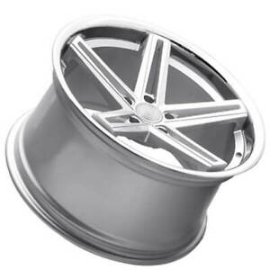 4 22 Staggered Concept One Wheels Cs55 Concave Matte Silver Rims b3