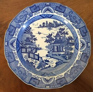 Antique English Staffordshire Pearlware Plate Chinese Blue Willow 18th 19th C