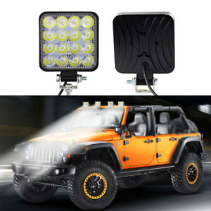 48w 16 Led Work Light Flood Beam Bar Car Atv Off Road Driving Fog Lamps 12v 24v