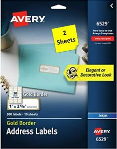 2 Sheets Avery 6529 Gold Border Address Labels 1 X 2 5 8 Inkjet B2g1
