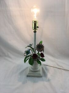Vtg Tole Painted Metal Italian Table Flower Lamp Mid Century Shabby Chic White