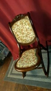 Antique Victoria Wood Upholstery Folding Rocking Chair Circa 1800