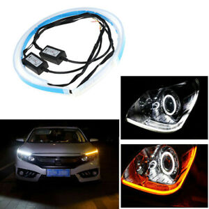 60cm Led Strip Light Drl Ultra Thin Daytime Running Car Headlight White Yellow