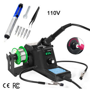 110v Smd Rework Soldering Iron Station Kit Desoldering Repair Stand Led Display