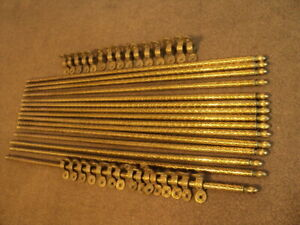 Set Of 15 Vintage Brass Stair Rods And 30 Original Brackets Patterned