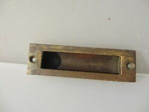 Vintage Brass Sliding Door Handle Pull Old Factory Drawer Cabinet X1