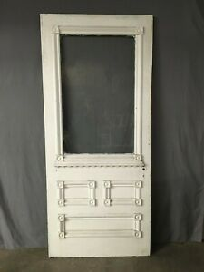 Antique Victorian Solid Wood Entry Door Half Glass Bullseyes Old Vtg 414 19e