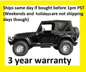Black Replacement Soft Top And Rear Tinted Windows 97 06 For Jeep Wrangler Tj