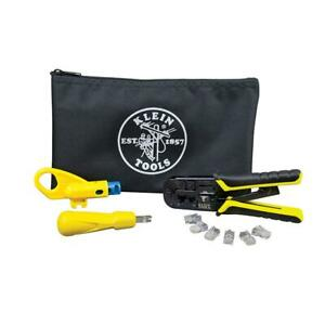 Klein Tools Twisted Pair Installation Kit Ratcheting Modular Crimper Stripper