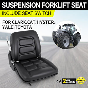 Universal Vinyl Forklift Suspension Seat Fit Clark Hyster Toyota W Seat Switch