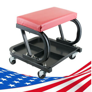 Mechanic Garage Creeper Seat Rolling Stool Chair Tray Storage Work Shop Devicece
