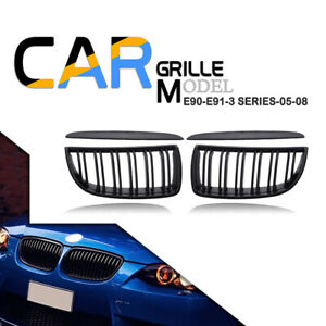 For 05 2008 Bmw 3 Series E90 E91 Matte Black Front Kidney Dual Slat Grill Grille