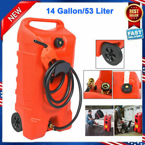 New 14 Gallon Portable Gas Fuel Tank Container With Fluid Caddy Transfer Pump