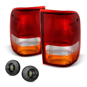 93 97 Ford Ranger Red Amber left right Rear Tail Lamp Led License Plate Light