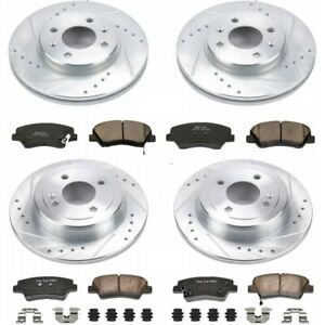 K6509 Powerstop Brake Disc And Pad Kits 4 wheel Set Front Rear New For Accent