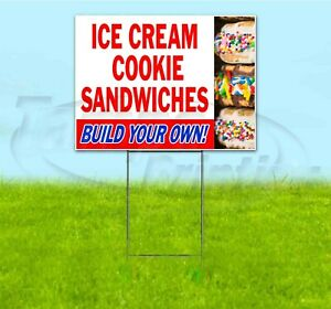 Ice Cream Cookie Sandwiches 18x24 Yard Sign With Stake Corrugated Bandit Treat
