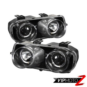 For 94 97 Acura Integra Dc2 Black Pair Left right Halo Projector Headlight Lamps