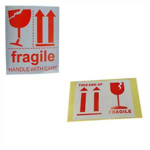 100x Fragile Warning Label Stickers Handle With Care Signs Decal For Package Box