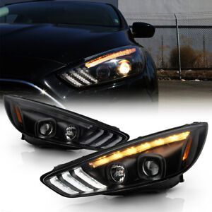 Black Clear Projector Headlight Led Sequential Lamp For 15 18 Ford Focus Halogen