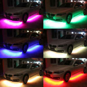 4x Rgb Underbody Under Glow Neon Led Lights Music Controller Music Activated